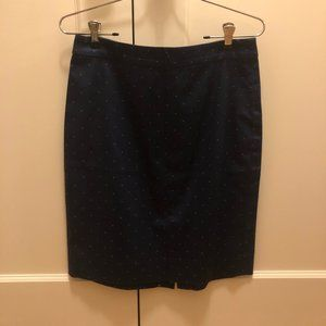 JCrew Skirt -- Navy with Fire Red/Orange -- Size 6